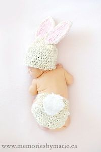 Bunny Ears Hat- Baby Portrait Idea: Love the little bunny tail too!