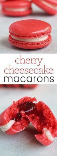 This is what happens when the classic French macaron has a delicious dessert baby with cherry cheesecake. You mouth will thank you for this! Download the recipe