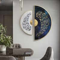 Framed wall art Gold art set of 2 wall art Sea Navy blue Ymipainting Gold fishes ocean 2 piece wall art abstract semicircle painting $539.00
