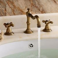 Bathroom Sink Taps Classic Widespread Sytle withPolished Brass Finish