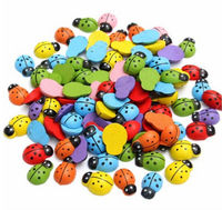 Pack of 100 Mini Wooden Ladybirds. Assorted Colours. 3D Flat back Ladybugs. £5.39