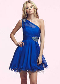 Sassy One Shoulder Jeweled Ruched Waist Royal Layered Party Dress