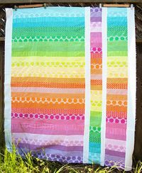 jelly roll quilt, cute and easy!! Love the bright colors for a baby quilt present