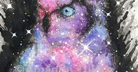 Cosmic Owl Watercolor Painting by Amanda Tulacz; outer space art, owl art, great horned owl, owl lover, owl decor, galaxy, nebula, cosmos, universe, milky way, space decor, owl decor, geek gift, nerd gift, science gift, astronomy, stars, owls, galaxy owl,...