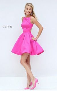 SHORT SATIN A LINE PINK SHERRI HILL 50427 HOMECOMING DRESS CHEAP