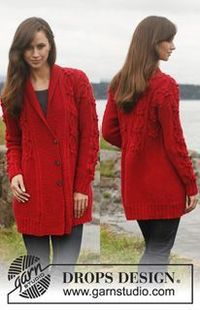 Knitted DROPS jacket with cables and shawl collar in �€Lima�€. Size: S - XXXL. ~ Free DROPS Design