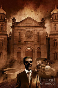 Horror Art Print The Funeral Director Stands As Dead As His Clientele In Front Of A Hearse, Open Casket and Church Tabernacle | #posters #artworks #skeletonart #horror #horrorart #halloweendecorations #funeraldirector #skeleton