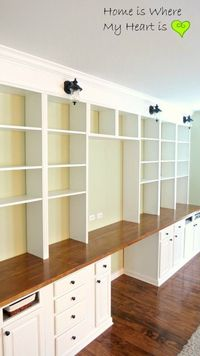 Wall-to-Wall Built-In Desk and Bookcase   Home Is Where My Heart Is featured on Remodelaholic.com