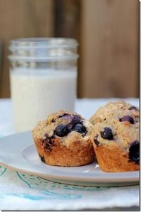Blueberry Banana Whole Wheat Muffins - a staple in our house! I replace the blueberries sometimes with mini chocolate chips!