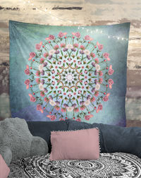 Real Flowers Mandala Tapestry Wall Hanging Meditation Yoga Grunge Hippie $35.00