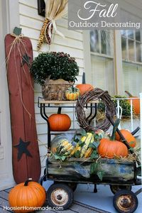 """Decorating for Fall is one of my favorite things to do. All of the warm Fall colors �€"""" orange, yellow, rust �€"""" are all so inviting. Our Fall Outdoor Decorating is"""