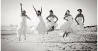 LOVE THIS! After the last friend got married, everyone put their dresses on for one last photo shoot. SO CUTE!