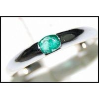 Jewelry 18K White Gold Gemstone Oval Cut Emerald Ring [RS0014]