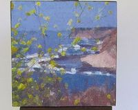 """Mini canvas Giclée print: Ocean Yellow Flowers a small personal photo distressed and mounted on 3"""" x 3"""" mini canvas with a 5"""" wooden easel."""