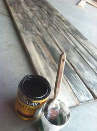 How to make a Barn Wood effect. Start with new wood. Then with the paintbrush, paint a layer of water and then a layer of stain and rub it off quickly with a rag to get that gray color. The water keeps the stain from getting too far in the wood so it&...