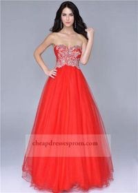 Red Corset Sweetheart Beaded Ball Gown Dress