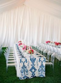 Jose Villa Photography - love the navy ikat and pink flowers