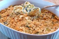 Zucchini and Cream Cheese Casserole topped with Butter Crackers - quick and easy use for all those zucchini!