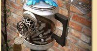 GadgetSponge Upcycled, Recycled Aluminum Coffee Percolator Pot and Blue Flower Birdhouse