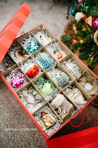 Pretty and durable Ornament Storage Boxes. These easily adjustable compartments and removable trays that make customizing your Christmas ornaments a breeze!