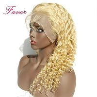 Blonde Lace Front Wigs With Baby Hair Remy Brazilian Deep Wave Human Hair Wigs Pre Plucked For Women 180% Density Wig Favor $232.14