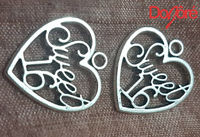 CLEARANCE Pack of 20 Silver Coloured SWEET 16 Heart Charms. 19mm x 21mm Happy Birthday Pendants £6.99