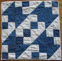 Antique c1880s Indigo Blue & White Table Or Doll QUILT Primitive Farmhouse Vintageblessings