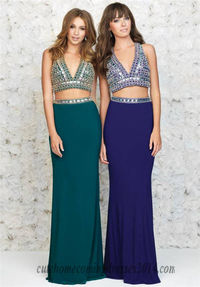 Madison James 15-182 Bead Two Piece Formal Long Prom Gown