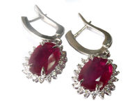 Halo Cluster Earrings, Dainty Vintage Earrings, Leverback Genuine Ruby 14K White gold, Oval Ruby surrounded with Diamonds $2170.00
