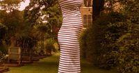 Stripe maxi-dress (baby bump :)) to cute
