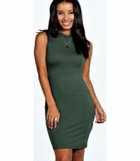 boohoo Turtle Neck Sleeveless Bodycon Dress - khaki No off-duty wardrobe is complete without a casual day dress. Basic bodycon dresses are always a winner and casual cami dresses a key piece for pairing with a polo neck , giving you that effortless eve ht...