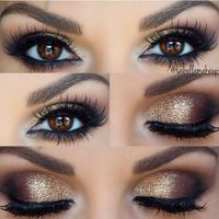 Gold Smokey Eye � liked on Polyvore featuring beauty products, makeup, eye makeup, eyes, holiday makeup, sparkle makeup, eye shimmer makeup, gold cosmetics and glitter makeup