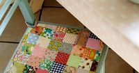 Patchwork chair cushion? Too presh. This would be awesome for a desk chair seat for Clara down the line