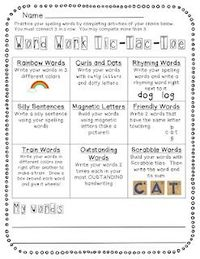 Free Tic-Tac-Toe menu for kids to choose how to practice their words during word work time (spelling, vocab, high frequency...).