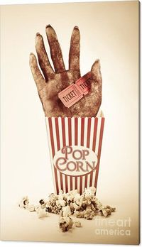 Horror Movies Canvas Art | Frightening Picture Of A Creepy Sawn Off Hand Poking Out Of A Striped Pop Corn Box Holding Two Cinema Movie Tickets In A Horror Movie Conceptual | #horrormovies #slasher #movieroomdecor #mancaveart #horrormovieposters #mediaroom...