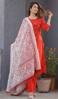 indian style designer kurti Indian Rajasthani Beautiful Red Ethnic Style Dress Women's and Girls $39.98