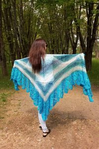 Extra plus size crochet shawl, as wool Christmas gift for mom, bohemian large winter cape for women, navy blue knitted shawl $140.00