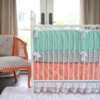 Caden Lane crib bedding mixes and matches patterns and colors to beautiful effect. Today we are giving away a complete crib bedding set to one lucky reader.