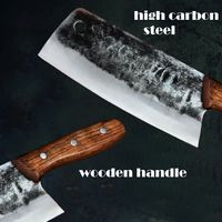 Handmade Chinese Cleaver Hand Forged High Carbon Blade Wooden Handle Chef Knife ILS410.00
