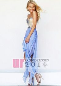Blue Sequined Dress With Asymmetrical Layered Tulle