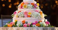 Disney's Tangled pink floral wedding cake | Flashbox Photography | Glamour & Grace