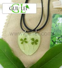 Gullei.com Glow in Dark Clover Couple Necklaces Gift Set