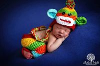 Baby Boy Hat / Pant Set Newborn Baby Boy Colorful Crochet knit Sock Monkey Hat With Ear Flaps Photography Prop- I want these!!!