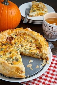 Tender roasted pumpkin, sweet caramelized onions, tangy gorgonzola and sage all baked in a quiche with a light, crispy and flaky phyllo crust.