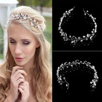 New Wedding Hair Accessories Clips Vintage Faux Crystal Pearl Tiara Drop Bridal Headband Flower HairPin Clips $2.78