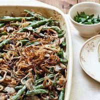 Hand-crisped shallots are an elegant replacement for the canned French-fried onions so often used to garnish these classic holiday bean dish. When cleaning mushrooms, do so with a brush or damp paper towel -- when washed in water, mushrooms become soggy. ...