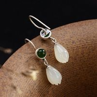Hetian jade pendant earrings / jade carving / 925 silver inlay / magnolia earrings