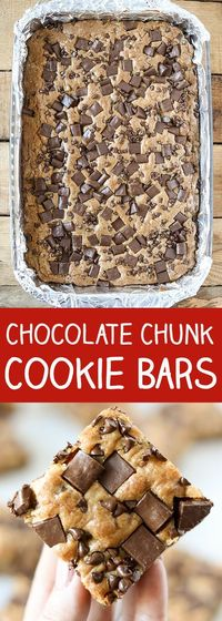 These Chocolate Chunk Cookies Bars are so delicious! Rick chunks of semi sweet chocolate baked in a golden brown buttery cookie dough! So simple to bake and per