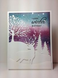 Birch tree accessories (deer die: TE), branching out (tree): PB, evergreen trees: poppy stamps, winter, by beesmom - Cards and Paper Crafts at Splitcoaststampers