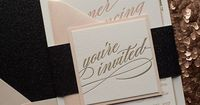 CYNTHIA Suite Glitter Package, black glitter, Black Friday Wedding Invitation Sale, letterpress wedding invitation, calligraphy wedding invitation, blush and black, blush and gold, http://justinviteme.com/collections/styled-collections/products/cynthia-su...